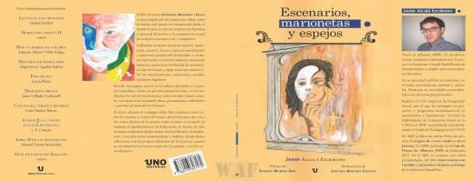 """Cubierta-Carátula Libro de poesía """"Escenarios, Marionetas y Espejos"""" de Javier Alcalá Escribano. Febrero 2016"""