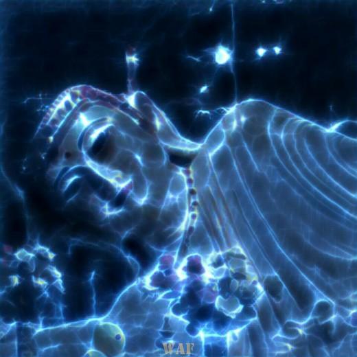Buda Meditando Celeste (Foto-arte)