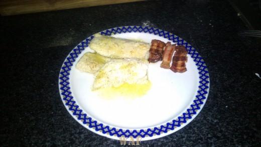 peixe gato grelhado com bacon e presunto/grilled cat fish with bacon and ham(foto2)