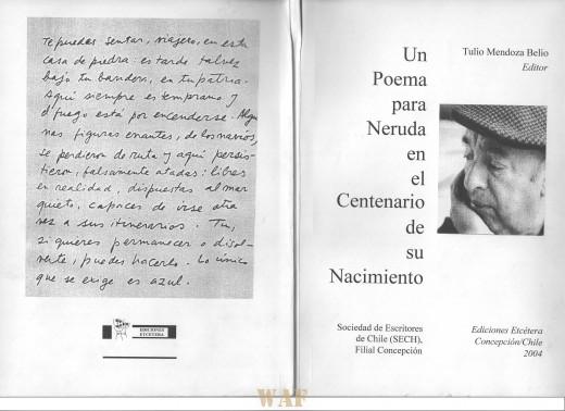 Portada antología Un Poema para Neruda en el Centenario de su Nacimiento