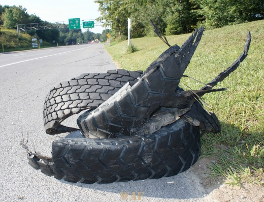 Truck and trailer tire debris, Clarion, PA 09/05/09