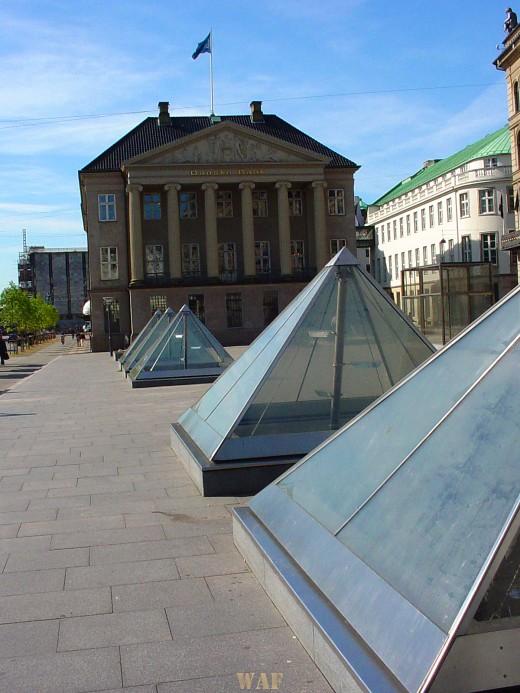 Copenhagen's glass pyramids  in a row