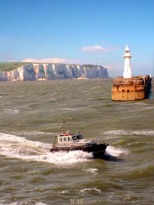 the White Cliffs of Dover, England (with boat and silo)