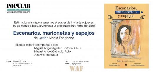 """Invitación-presentación Libro """"Escenarios, marionetas y espejos"""""""