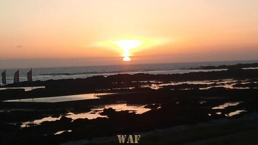 Por do Sol na Praia Norte de Viana do Castelo Numa Tarde Solarenga de Primavera