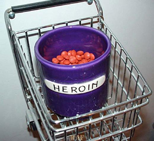 """a """"heroin"""" jar in a """"shopping cart"""""""