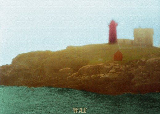 a lighthouse in Maine (colored, in rough pastels)