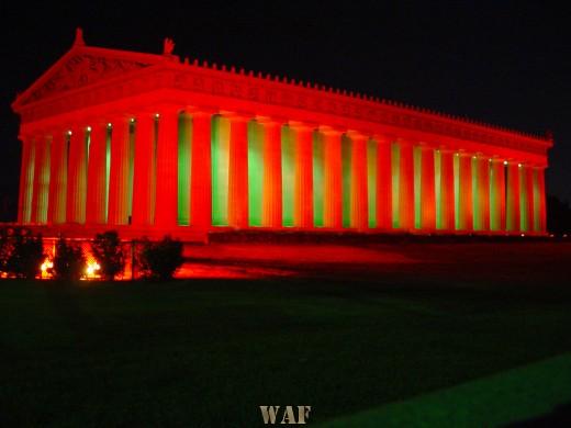 a life-size replica of the Parthenon in Nashville, TN at night 10/28/05