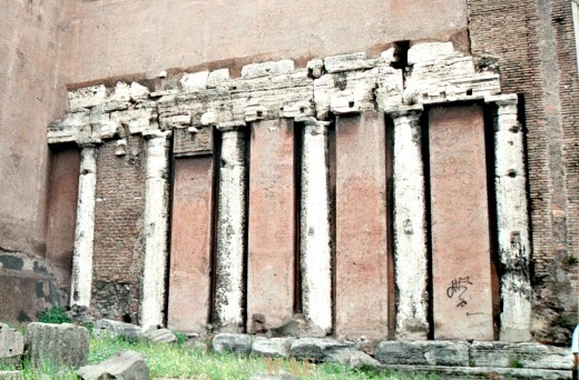 ancient columns, preserved in a wall, in Rome