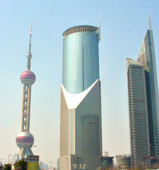 Shanghai (China) buildings and the Oriental Pearl Tower