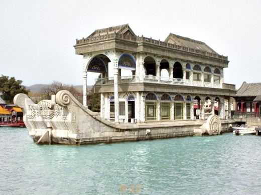 a Marble Boat on the water at the Summer Palace (Beijing, China)