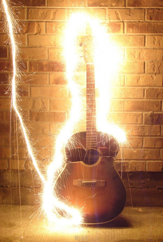 Sparkler designs around a Guitar
