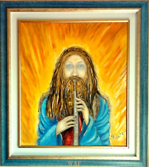 Christ with the flute – Painting inspired by a dream
